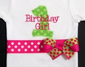 Birthday Girl Bodysuit or Shirt, First Birthday, Number One, Pink and Green, Birthday Outfit, Photo Prop