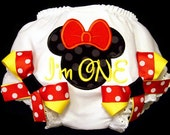Minnie Mouse First Birthday Girl Bloomers, I'm One, Baby Toddler Girl, Red Black Yellow, Number One, Disney