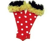 Minnie Mouse Legwarmers with Double Ruffle, Baby Toddler Girl, Red Polka Dot, Yellow and Black Chiffon