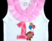 Ready to Ship Size 12-18m First Birthday Tank Top Bodysuit, Balloon Moneky, Photo Prop