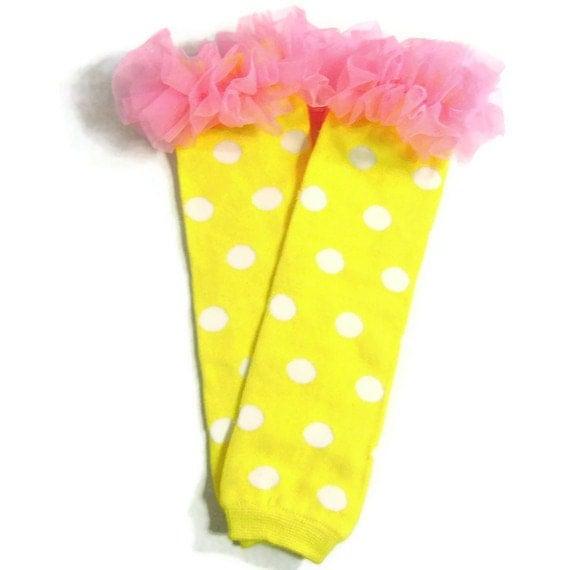 Yellow Legwarmers with Chiffon Ruffles, Tutu Tights, Yellow, Pink