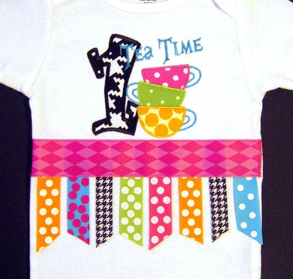 Sale Ready to Ship 12-18 months First Birthday Wonderland Tea Time Bodysuit with Ribbon Fringe, Teacup, Mad Hatter, Girl Birthday