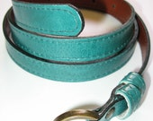 EMERALD GREEN Skinny Leather Belt
