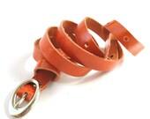 Women's Leather Belt - Super Skinny Leather Belt - in Orange - SHIPPING FREE