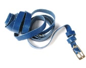 Women's Leather Belt - Double Wrap Skinny Leather Belt - in BLUE me AWAY - FREE Shipping