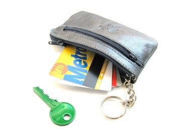 Leather Coin Wallet, Leather Coin Purse, Leather Coin KeyChain, Leather Coin Pouch, Gift For Him, Gift For Her - Mini Zippy in METALLIC BLUE