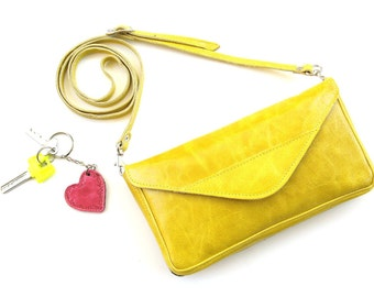 Women's Crossbody Leather Bag, Women's Leather Clutch, Women's Leather Envelope, Gift For Her, Yellow Leather Clutch - in GrapeFruit Yellow