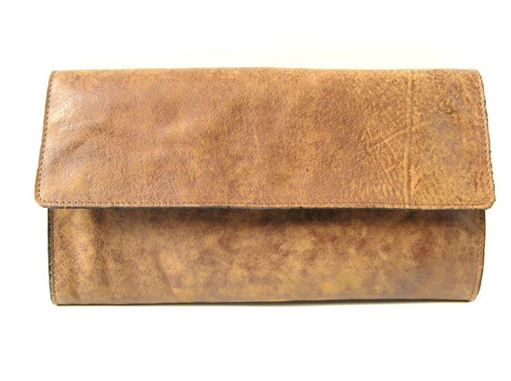STYLISH LEATHER CLUTCH in Cinnamon Brown - (Last One)