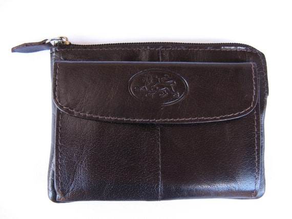 Leather Coin Purse - The ESSENTIAL MINI ZIPPY - in Dark Brown