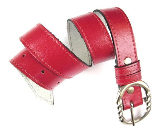 CLEARANCE SALE - Leather Belt in RED