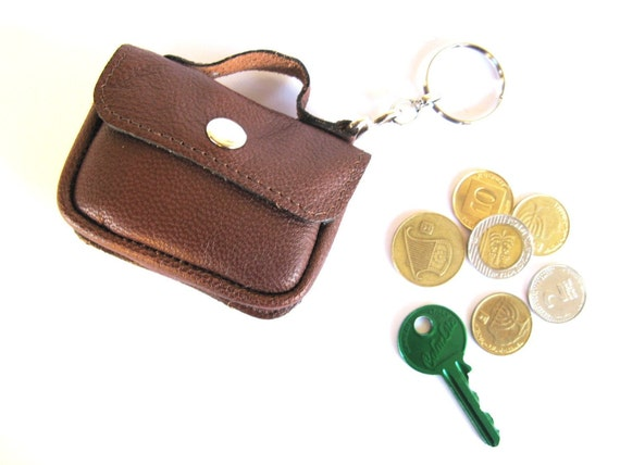 Leather Coin Purse - Tiny Leather Suitcase - in CHOCOLATE BROWN