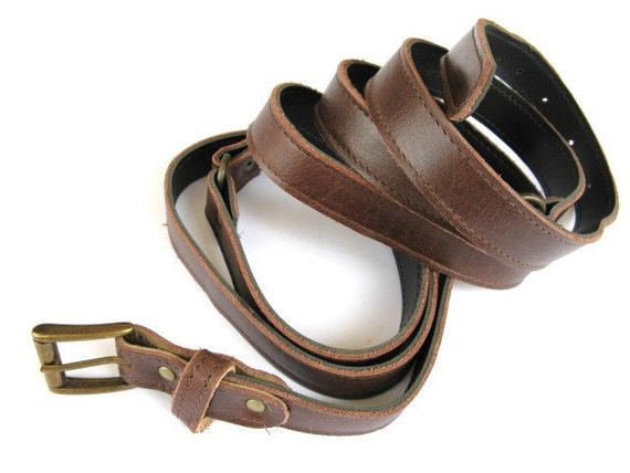 Women's Leather Belt - Double Wrap Skinny Leather Belt - in Chocolate Brown