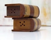 Vintage Wooden Book Salt and Pepper Shakers