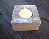White Chunky Rustic Reclaimed Fencewood Single LED Candle Holder