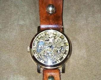 Steampunk Edwardian Victorian leather BELT-HUNG watch