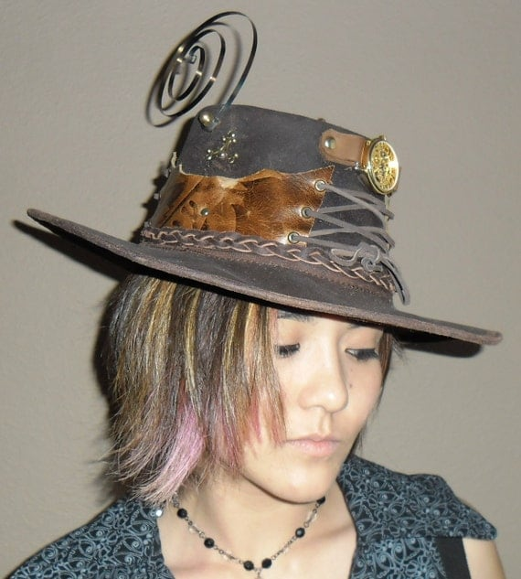OILED leather Steampunk western hat + FREE BONUS: laser-cut Coppersmith Design necklace
