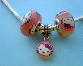 Silver-polymer clay hello kitty beads fits pandora