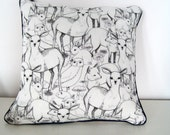 Woodland Print Linen Scatter Cushion