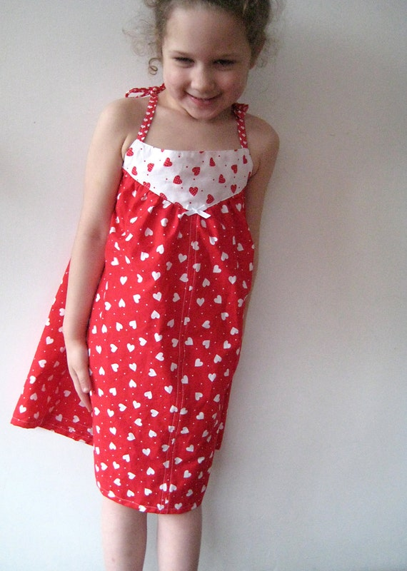 Valentina Dress in Red and White with Hearts, 4-6 yrs