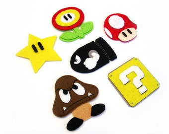 Mario set Felt Applique (Set of 6 pieces)
