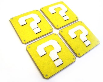 Question Box Mario brothers Felt Applique (Set of 4 pieces)