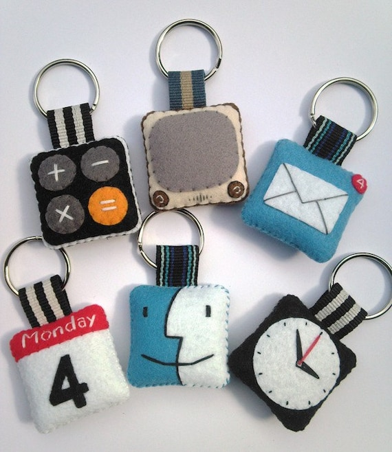 iPhone icon Felt Keychain ( Set of 3 )
