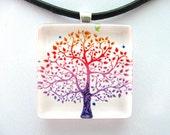 Rainbow Tree 1 inch Glass Tile Pendant
