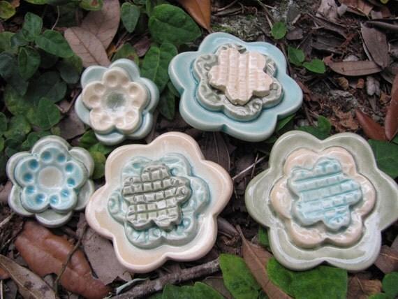 handbuilt pottery ceramic flower magnets