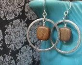 Silver-Encircled Bayong Wood Earrings
