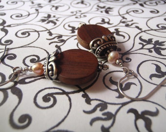 Tiger ebony coins with sweet pink pearl earrings