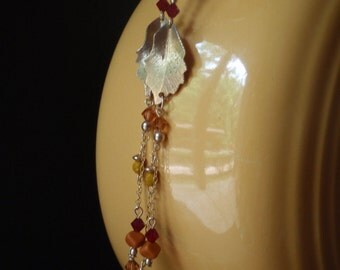 Chain earrings with vintage gold leaves, vintage glass & crystal