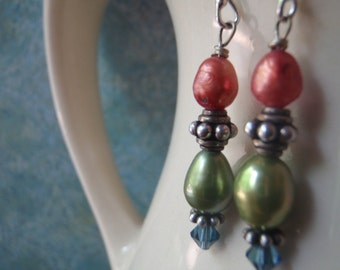 Freshwater pearl and Swarovski crystal earrings with Bali silver