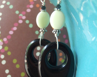 Vintage lucite earrings with lemon chrysoprase and jet crystal