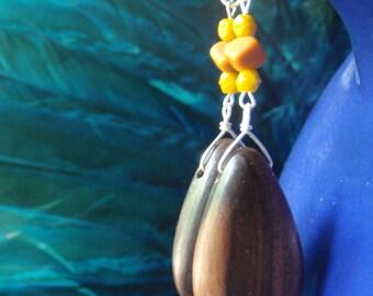Tiger ebony teardrop earrings with vintage glass