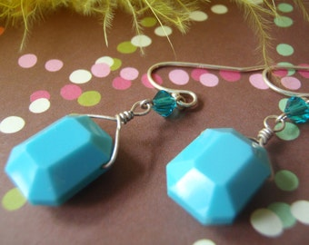 Turquoise glass pillow earrings with Swarovski crystals