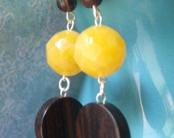 Faceted yellow jade and tiger ebony earrings