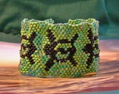 Honu  Sea Turtle Bead Woven Bracelet Cuff - Odd Count Peyote Stitch