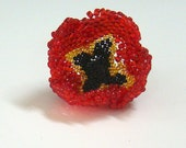 Red Poppy Bead Woven Brooch, Remembrance Day, Flower