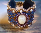 FINAL PAYMENT  Reserve For Perseo8711 Arabian Nights Arabesque Cuff, DK Aqua Blue, Fresh Water Pearls, Bronze, bead embroidered