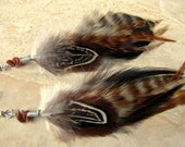 Feather Earrings - Natural Rooster and Pheasant Feathers, Tribal Earrings - Wolf Spirit