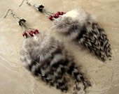 Chandelier Feather Earrings - Black and White Striped Feathers, Beaded Feather Earrings - Wren