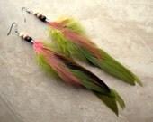 Feather Earrings - Olive Green, Beaded Feather Earrings