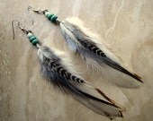 Feather Earrings - Natural Colors, Beaded Feather Jewelry - Finch
