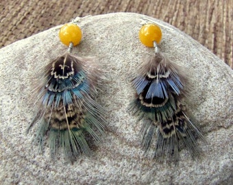 Short Feather Earrings - Natural Blue-Gray Pheasant Feathers - January Sun