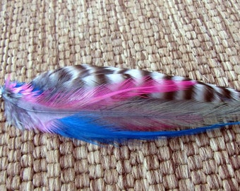 Feather Hair Extension - Clip In Extension, Striped Hair Feathers, Bright Colors - Electric Sunrise