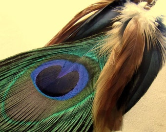 Peacock Feather Earring - Extra Long Single Earring, Peacock and Rooster Feathers - Eclipse