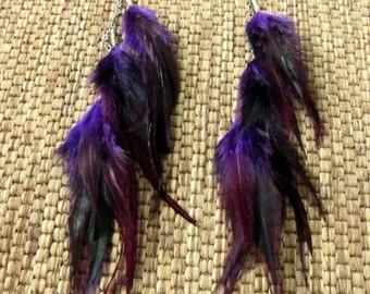 Purple Feather Earrings - Long Feather Earrings - Violet Wings