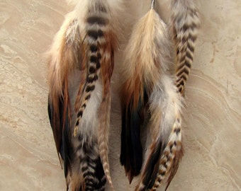 Extra Long Feather Earrings - Long Brown Feathers, Striped Feather Earrings, Feather Jewelry - Willow