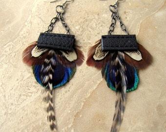 Peacock Feather Earrings - Leather Feather Earrings, Tribal Earrings - Woodland