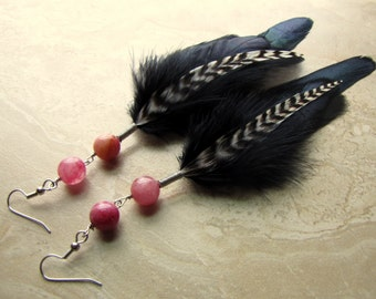 Feather Earrings - Black Feathers, Red Agate Beads - Shadow